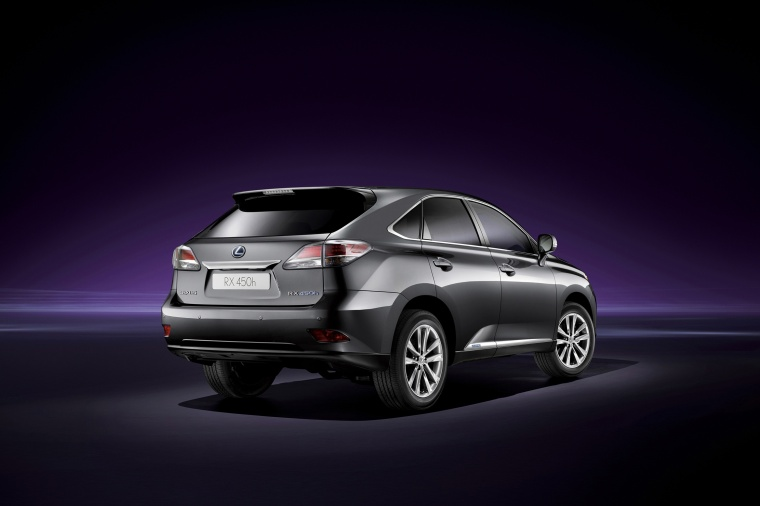 2015 Lexus RX450h in Nebula Gray Pearl from a rear right three-quarter view