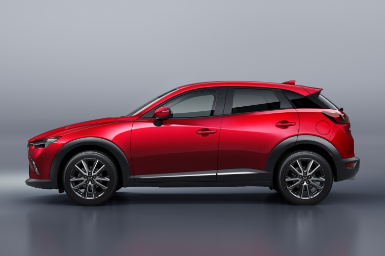 2016 Mazda CX-3 in Soul Red Metallic from a side view