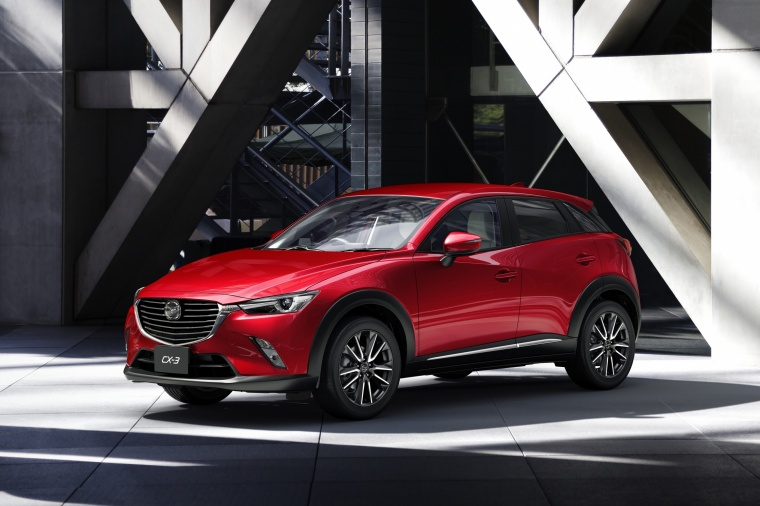 2017 Mazda CX-3 in Soul Red Metallic from a front left three-quarter view