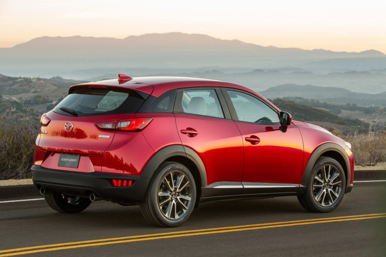 2017 Mazda CX-3 in Soul Red Metallic from a rear right three-quarter view