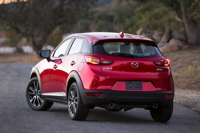 2017 Mazda CX-3 in Soul Red Metallic from a rear left view