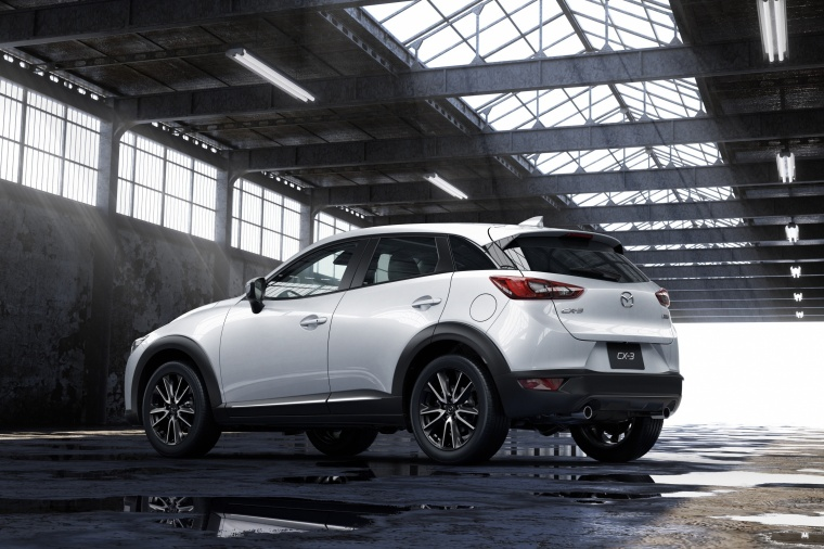 2017 Mazda CX-3 in Crystal White Pearl Mica from a rear left three-quarter view