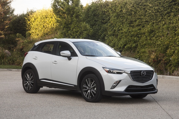 2017 Mazda CX-3 AWD in Crystal White Pearl Mica from a front right three-quarter view