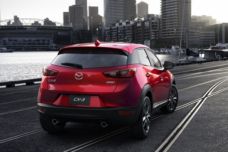 2017 Mazda CX-3 in Soul Red Metallic from a rear right view