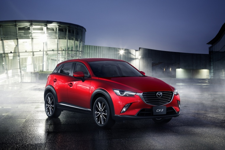 2017 Mazda CX-3 in Soul Red Metallic from a front right three-quarter view
