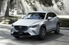 2017 Mazda CX-3 in Crystal White Pearl Mica from a front left view