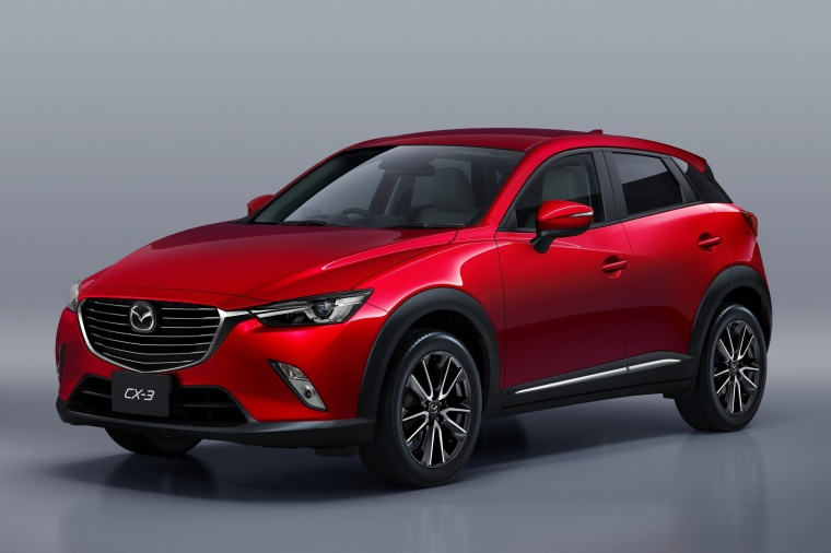 2018 Mazda CX-3 in Soul Red Metallic from a front left three-quarter view