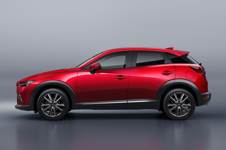 2018 Mazda CX-3 in Soul Red Metallic from a side view