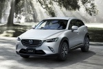 Picture of a 2018 Mazda CX-3 in Snowflake White Pearl Mica from a front left perspective
