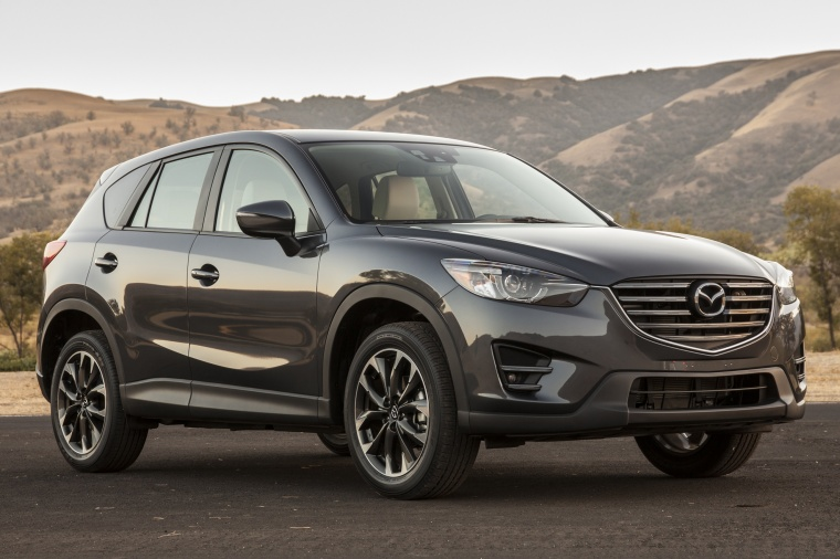 2016 Mazda CX-5 in Meteor Gray Mica from a front right view