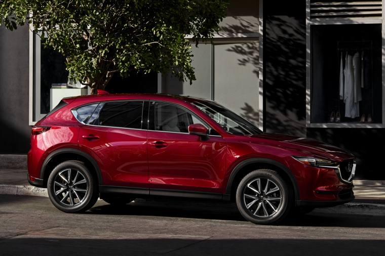2017 Mazda CX-5 Grand Touring AWD in Soul Red Crystal Metallic from a front right three-quarter view