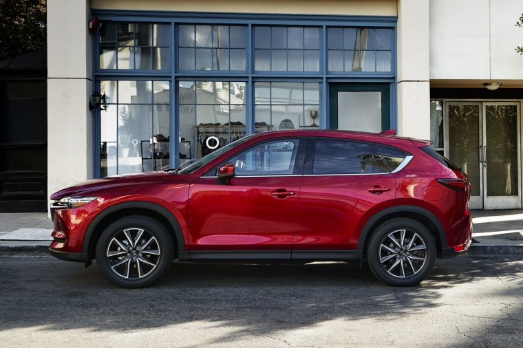 Picture of a 2017 Mazda CX-5 Grand Touring AWD in Soul Red Crystal Metallic from a left side perspective