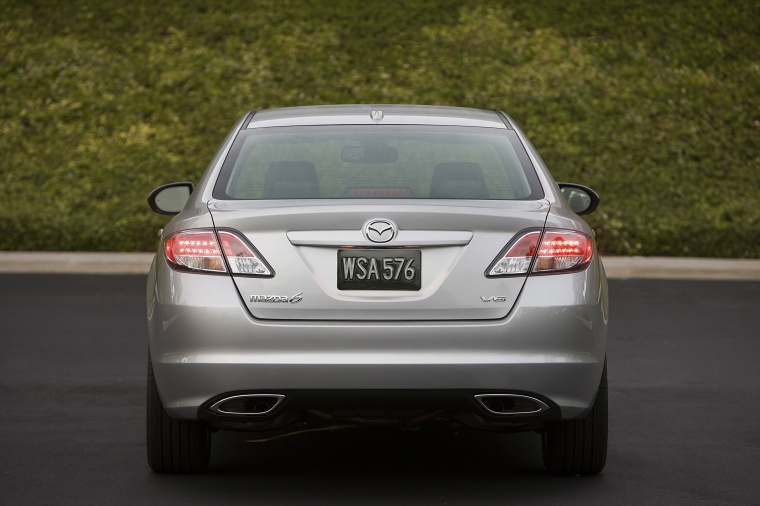 2010 Mazda 6s in Brilliant Silver Metallic from a rear view