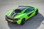 2017 McLaren 570S Coupe in Mantis Green - Static Rear Right Three-quarter Top View