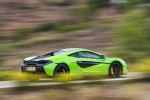 2017 McLaren 570S Coupe in Mantis Green - Driving Rear Right Three-quarter View