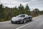 2017 McLaren 570S Coupe in Blade Silver - Driving Front Left Three-quarter View