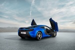 2016 McLaren 650S Coupe with doors open in Aurora Blue - Static Rear Right Three-quarter View