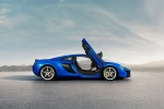 2016 McLaren 650S Coupe with doors open in Aurora Blue - Static Side View