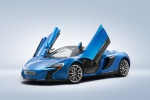 2016 McLaren 650S Spider with doors open in Blue - Static Front Left Three-quarter View