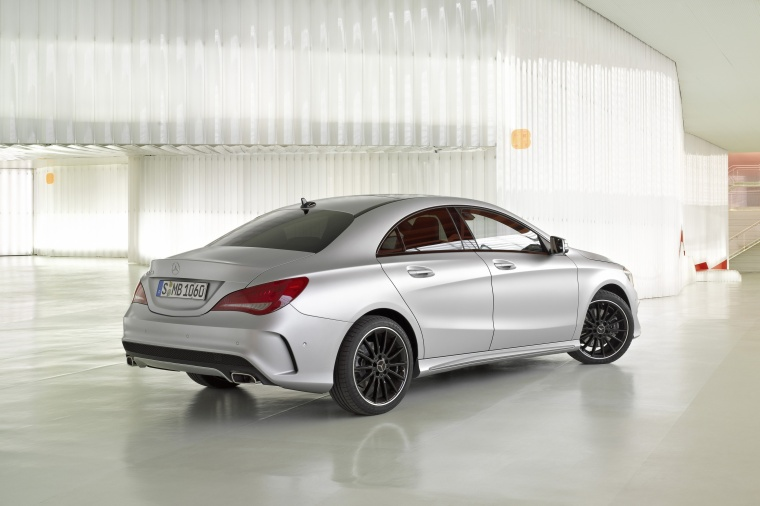 2016 mercedes benz cla250 with sport package in polar silver metallic color static rear. Black Bedroom Furniture Sets. Home Design Ideas