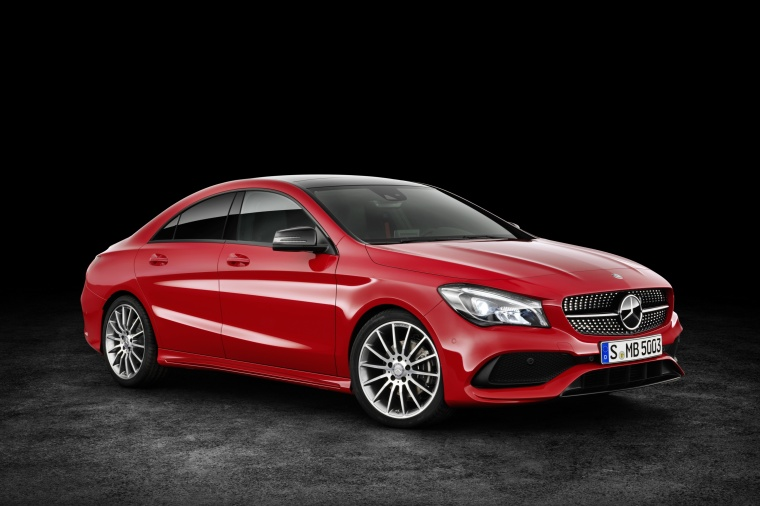 2017 Mercedes-Benz CLA-Class 4-door Coupe in Jupiter Red from a front right three-quarter view