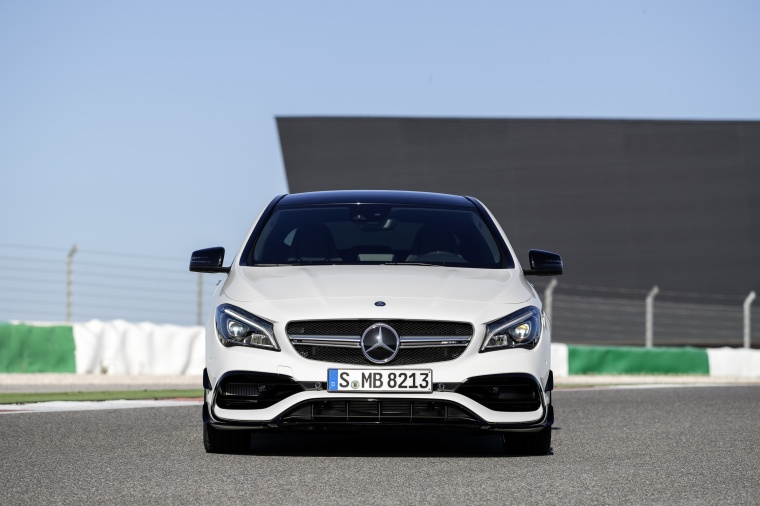 2017 Mercedes-Benz AMG CLA45 4-door Coupe in Cirrus White from a frontal view