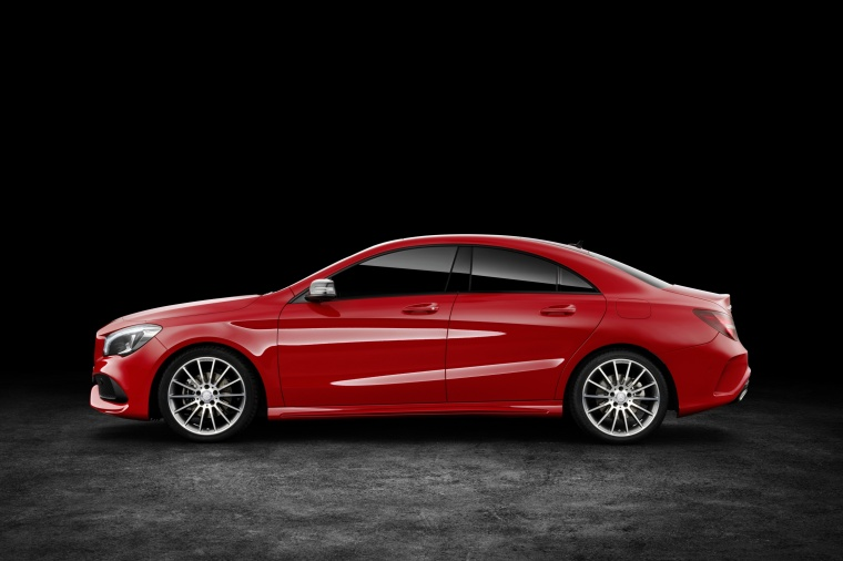 2017 Mercedes-Benz CLA-Class 4-door Coupe in Jupiter Red from a side view