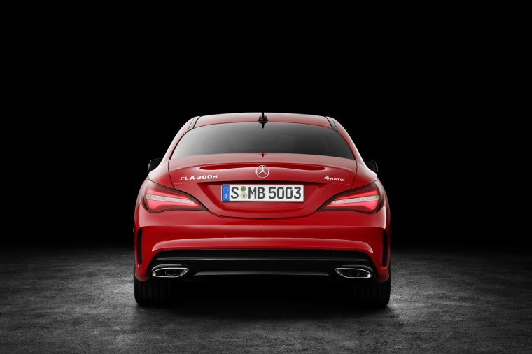 2017 Mercedes-Benz CLA-Class 4-door Coupe in Jupiter Red from a rear view