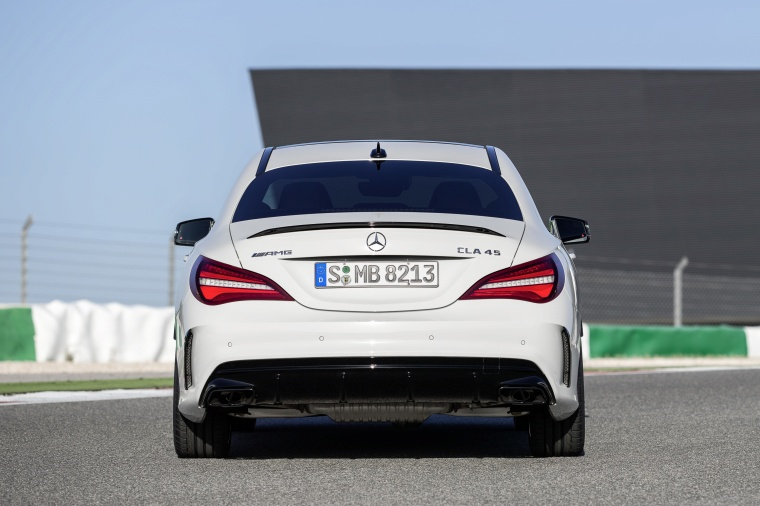 2017 Mercedes-Benz AMG CLA45 4-door Coupe in Cirrus White from a rear view
