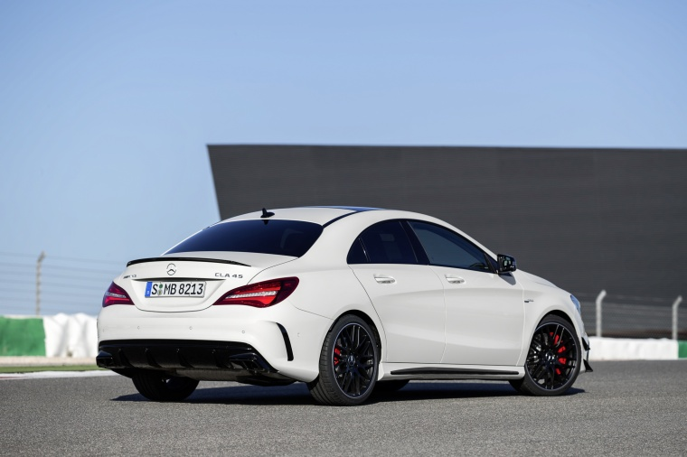 2017 Mercedes-Benz AMG CLA45 4-door Coupe in Cirrus White from a rear right three-quarter view