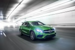 Picture of a driving 2019 Mercedes-AMG GLA 45 4MATIC from a front right perspective