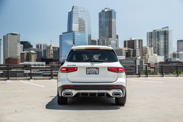 Picture of a 2020 Mercedes-Benz GLB 250 in Polar White from a rear perspective
