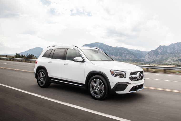 Driving 2020 Mercedes-Benz GLB 250 in Polar White from a front right three-quarter view