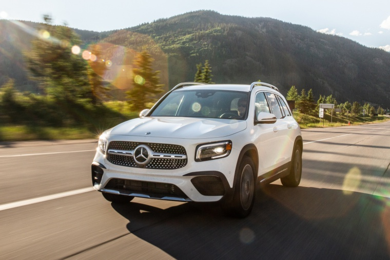 Driving 2020 Mercedes-Benz GLB 250 in Polar White from a front left view
