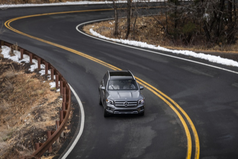 Driving 2020 Mercedes-Benz GLB 250 4MATIC in Mountain Gray Metallic from a frontal top view