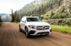 Driving 2020 Mercedes-Benz GLB 250 in Polar White from a front right view