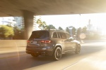 Picture of a driving 2020 Mercedes-Benz GLB 250 4MATIC in Mountain Gray Metallic from a rear right perspective