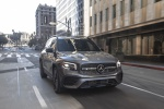 Picture of a driving 2020 Mercedes-Benz GLB 250 4MATIC in Mountain Gray Metallic from a front right perspective