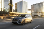 Picture of a driving 2020 Mercedes-Benz GLB 250 4MATIC in Mountain Gray Metallic from a front left three-quarter perspective