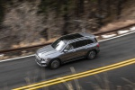Picture of a driving 2020 Mercedes-Benz GLB 250 4MATIC in Mountain Gray Metallic from a side top perspective