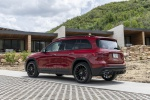 Picture of a 2020 Mercedes-Benz GLB 250 in Patagonia Red Metallic from a rear left three-quarter perspective