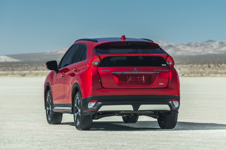 Picture of a 2019 Mitsubishi Eclipse Cross SEL S-AWC in Red Diamond from a rear perspective