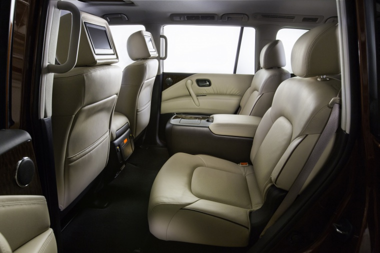 Picture of a 2019 Nissan Armada Platinum's Rear Seats in Almond