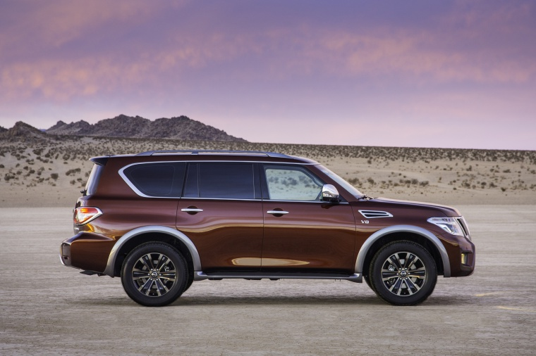Picture of a 2020 Nissan Armada Platinum in Forged Copper Metallic from a side perspective
