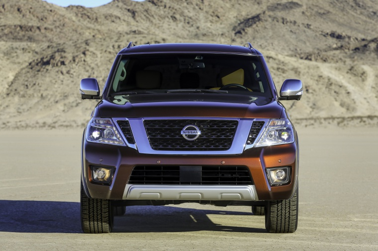 Picture of a 2020 Nissan Armada Platinum in Forged Copper Metallic from a frontal perspective
