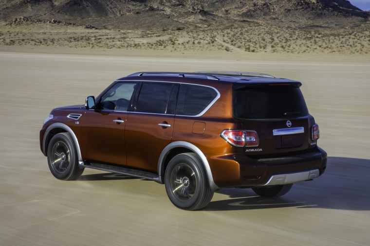 Picture of a 2020 Nissan Armada Platinum in Forged Copper Metallic from a rear left three-quarter top perspective