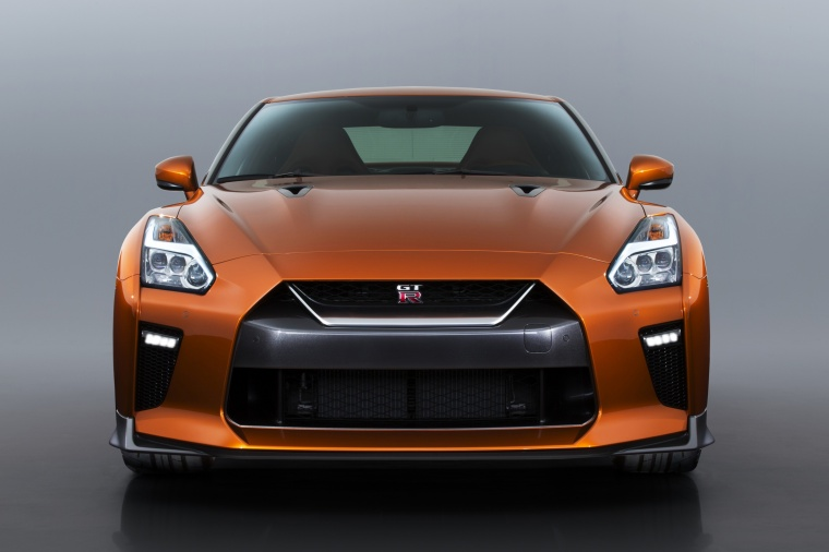 2017 Nissan GT-R Coupe Premium in Blaze Metallic from a frontal view