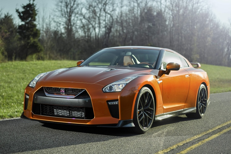 2017 Nissan GT-R Coupe Premium in Blaze Metallic from a front left view