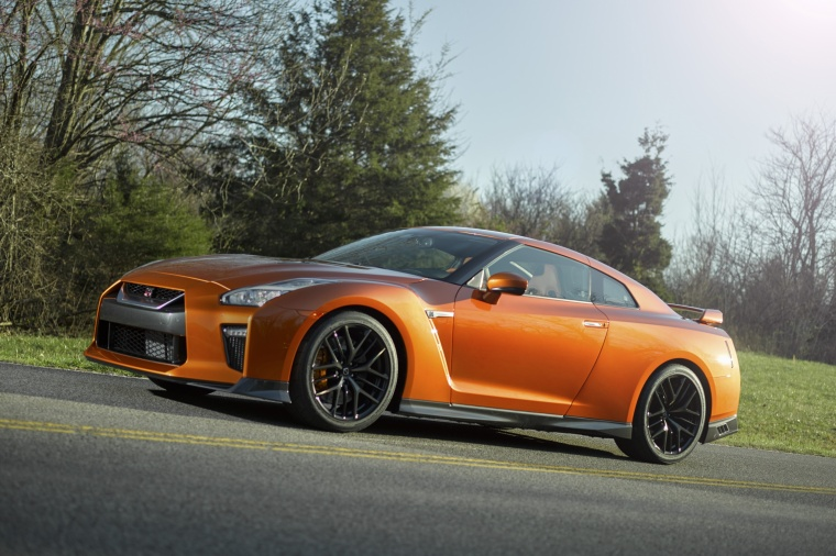 2017 Nissan GT-R Coupe Premium in Blaze Metallic from a front left three-quarter view