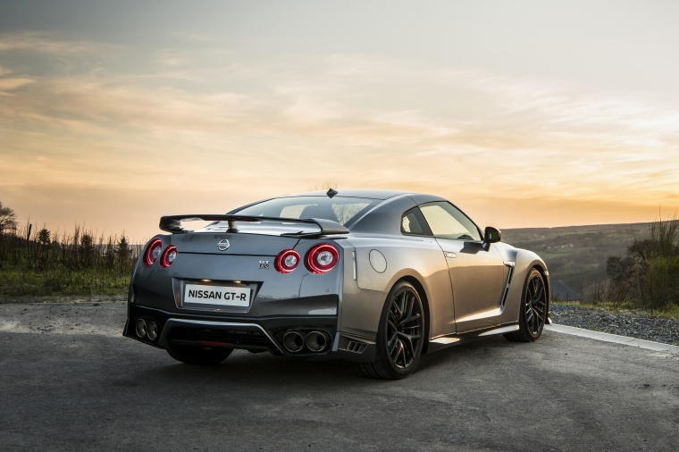 2017 Nissan GT-R Coupe Premium in Gun Metallic from a rear right view